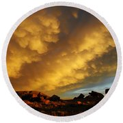 Red Rock Coulee Sunset Round Beach Towel by Vivian Christopher