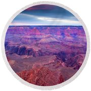 Red Rock Dusk Round Beach Towel by Mike  Dawson