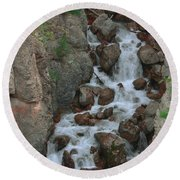 Red Rock Falls Round Beach Towel