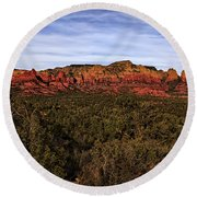 Red Rock Golden Hour 26 Round Beach Towel