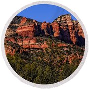 Red Rock Sentinels Round Beach Towel