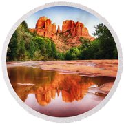 Red Rock State Park - Cathedral Rock Round Beach Towel