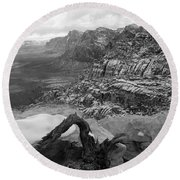Round Beach Towel featuring the photograph Red Rock Winter by Alan Socolik