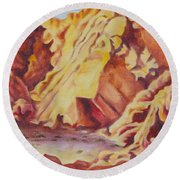 Round Beach Towel featuring the painting Red Rocks by Michele Myers