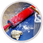 Red Rolling Pin Round Beach Towel