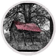 Red Roof Round Beach Towel by Debra and Dave Vanderlaan