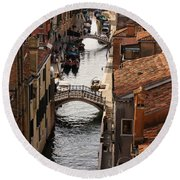 Red Roofs Of Venice Round Beach Towel