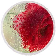 Red Rose In The Rain Round Beach Towel