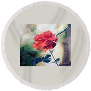 Round Beach Towel featuring the painting Red Rose On A Branch by Greta Corens
