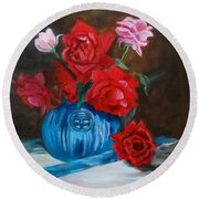 Round Beach Towel featuring the painting Red Roses And Blue Vase by Jenny Lee