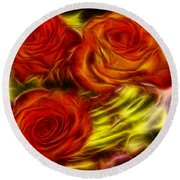 Round Beach Towel featuring the painting Red Roses In Water - Fractal  by Lilia D