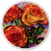 Round Beach Towel featuring the digital art Red Roses In Water - Silk Edition by Lilia D