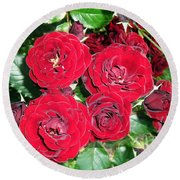 Round Beach Towel featuring the photograph Red Roses by Vesna Martinjak