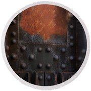 Red Rust Rivets Round Beach Towel