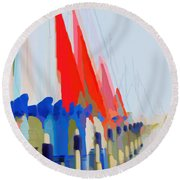 Red Sails In The Sunset Round Beach Towel