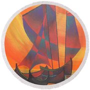 Round Beach Towel featuring the painting Red Sails In The Sunset by Tracey Harrington-Simpson