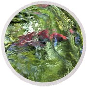 Round Beach Towel featuring the photograph Red Salmon In Steep Creek by Cathy Mahnke