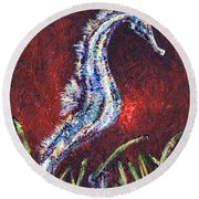 Red Seahorse Round Beach Towel