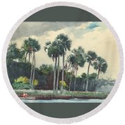 Round Beach Towel featuring the painting Red Shirt Homosassa Florida  by Winslow Homer