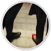 Red Shoe On Escalator Round Beach Towel