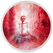 Red Skeleton Meditation Round Beach Towel