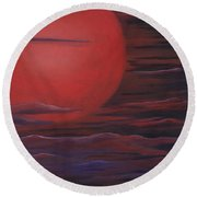 Red Sky A Night Round Beach Towel