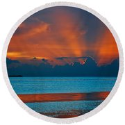 Tropical Florida Keys Red Sky At Night Round Beach Towel