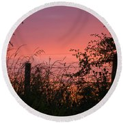 Red Sky At Night Round Beach Towel by Liz  Alderdice