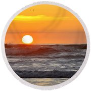 Red Sky At Night Sailors  Delight Round Beach Towel