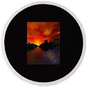 Round Beach Towel featuring the digital art Red Sky by Kim Prowse