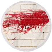 Red Splash On Brick Wall Round Beach Towel