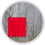 Red Square On A Wall Round Beach Towel