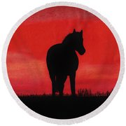 Red Sunset Horse Round Beach Towel