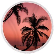 Red Sunset In The Tropics Round Beach Towel