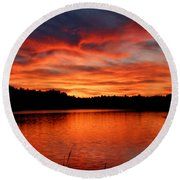 Red Sunset Reflections Round Beach Towel by Denyse Duhaime
