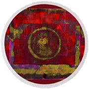 Round Beach Towel featuring the photograph Red by Susan Leggett