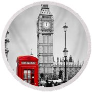 Red Telephone Booth And Big Ben In London Round Beach Towel
