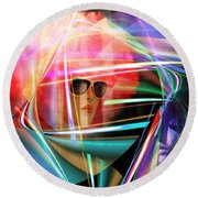 Round Beach Towel featuring the digital art Red Thoughts by Rosa Cobos