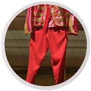 Red Toreador Bull Fighting Outfit Round Beach Towel