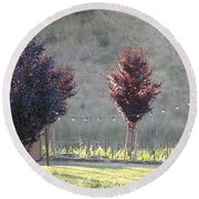 Round Beach Towel featuring the photograph Red Tree's by Shawn Marlow