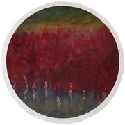 Red Trees Watercolor Round Beach Towel
