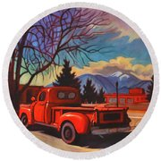 Red Truck Round Beach Towel by Art James West