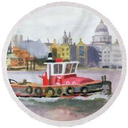 Red Tug Passing St. Pauls, 1996 Round Beach Towel