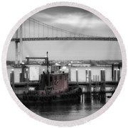 Red Tugboat And Newport Bridge Round Beach Towel