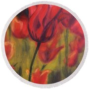 Round Beach Towel featuring the painting Red Tulips by Donna Tuten