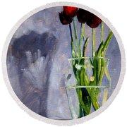 Red Tulips Round Beach Towel by Nancy Merkle