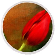 Red Tulips Triptych Section 3 Round Beach Towel by Lourry Legarde