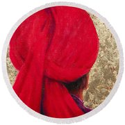 Red Turban On Gold Leaf, 2014 Oil On Canvas With Gold Leaf Round Beach Towel