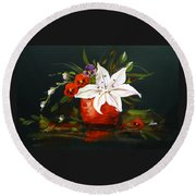 Red Vase With Lily And Pansies Round Beach Towel