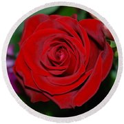 Round Beach Towel featuring the photograph Red Velvet Rose by Connie Fox